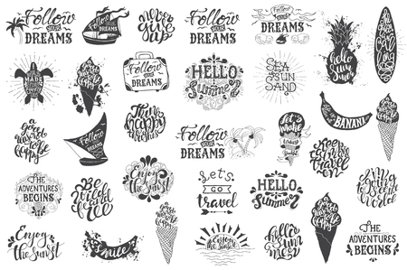 Summer travelling Hand drawn lettering, typography inscriptions and quotes. Big set for Inspiring label, greeting card, template, poster, banner Illustration
