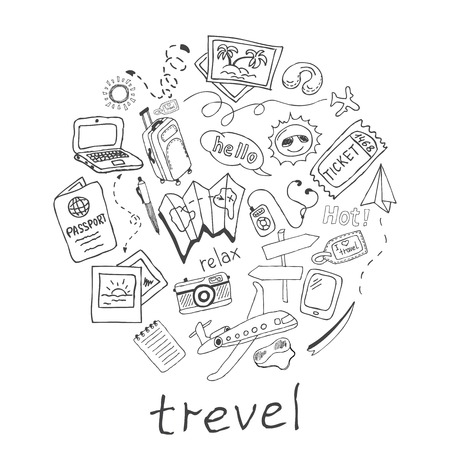 Hand drawn travel, vacation doodle Icons collection on white background. Vector illustration for your design