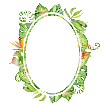 palm wreath: Watercolor tropical leaves frame, Hand drawn plants arrangement border Exotic palm leaf, jungle tree Perfect for fabric design,  invitations, greeting cards and wallpapers Aloha collection