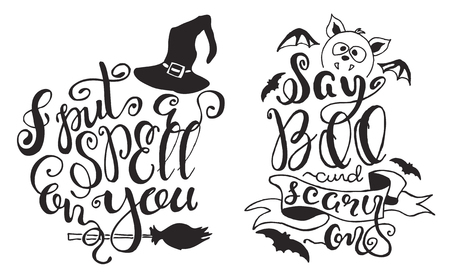 hand print: Set with Halloween labels with Hand drawn bat, witch hat and broom, vector illustration and quotes I put a spell on you and Say Boo and scary on inspirational lettering.