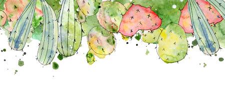 熱帯のサボテンの手配、罫線、フレーム水彩サボテン プリントの夏デザイン プロジェクト、結婚式、グリーティング カード、写真、ブログ、花輪