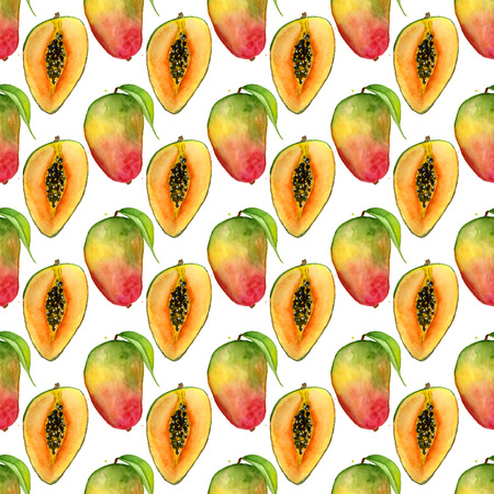 Seamless pattern with tropical exotic fruits. Mango slice on white background. Summer print for fabric, wallpaper, textile. Watercolor hand drawn illustration.
