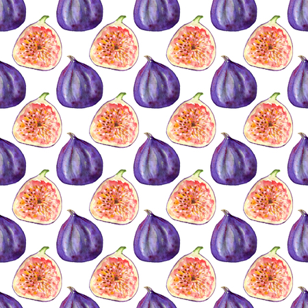 Seamless pattern with tropical exotic fruits. Fig slice on white background. Summer print for fabric, wallpaper, textile. Watercolor hand drawn illustration. Stock Photo