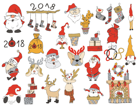 Set of Christmas and New Year doodle holiday characters and elements: Santa, deer, noel, gift,  garland, wreaths, lettering, dogs, gnomes, fireplace. Funny cute design.