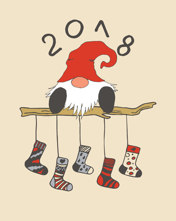 Merry Christmas card. Happy New Year, 2018 with santa claus or gnome in red hat and stockings