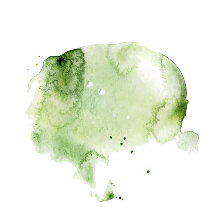 Green watercolor splash, spot, dot and stripe isolated on white background. Vector hand painted brush illustration