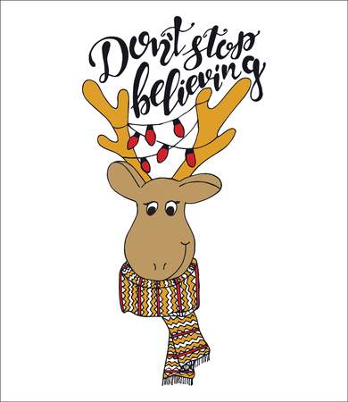 Merry Christmas quote lettering  Dont stop believing with dear Typography designs Vector logo, emblem, phrase. Usable for banners, greeting cards, gifts. Illustration