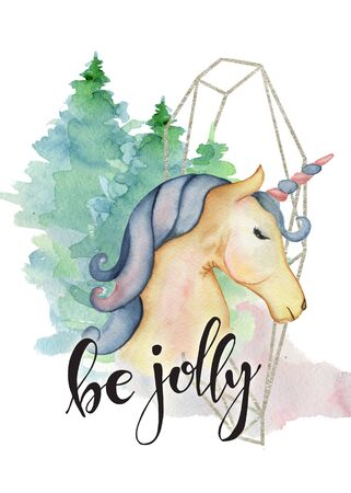 Cute unicorn  watercolor hand drawn merry christmas illustration with lettering quote Be jolly woodland background New Year card, poster Stock Photo