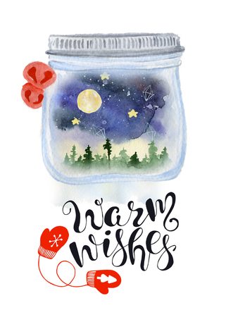 Christmas mason jar snow globe with nigt sky and woodland inside watercolor hand drawn illustration with lettering Warm wishes. New Year card, poster Stockfoto