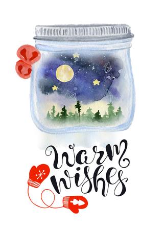 El globo de la nieve del tarro de albañil de la Navidad con el cielo y el arbolado del nigt dentro del ejemplo dibujado mano de la acuarela con poner letras calienta deseos. Tarjeta de año nuevo, cartel Foto de archivo - 90809162
