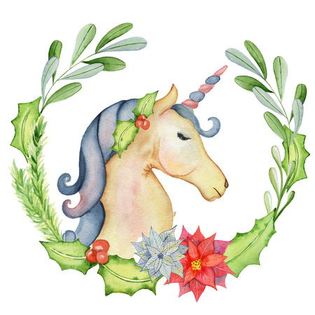 Christmas watercolor unicorn with floral wreaths watercolour illustration
