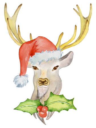 Christmas deer with winter decorations Santa hat, watercolor illustration