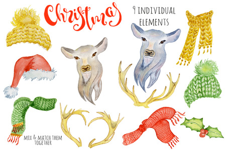Cute Christmas deer watercolor creator Winter illustration with decorations Trendy cartoon