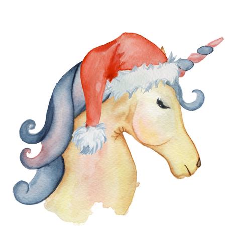 cute Christmas unicorns watercolor set Winter illustration Princess unicorns poster Trendy cartoon horse.