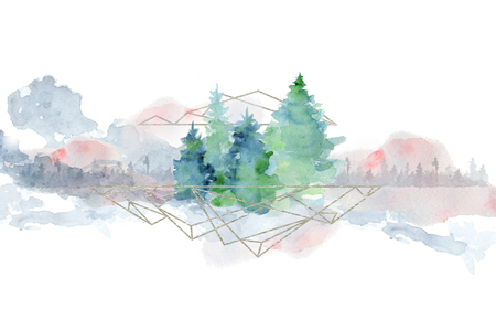 Watercolor abstract woddland, fir trees silhouette with ashes and splashes, winter background hand drawn illustration Stock Photo