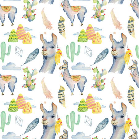 Watercolor llama, alpaca and cactus seamless pattern Hand drawn background, love pattern