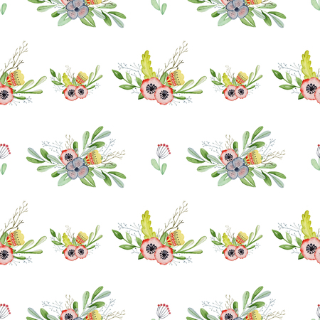 Watercolor floral romantic seamless pattern Hand drawn background