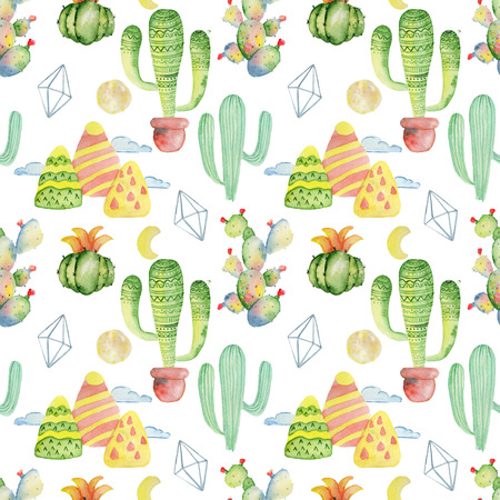 Watercolor cactus seamless pattern Hand drawn background