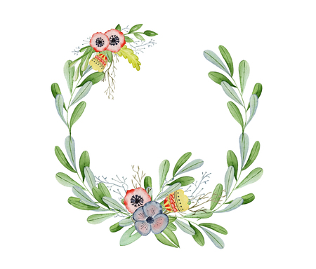 Watercolor floral wreaths hand drawn illustration. Tribal flowers, leaves and branch