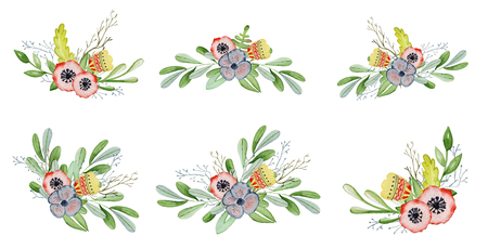 Watercolor floral set with bouquet hand drawn illustration. Tribal flowers, leaves and branch Stock Photo