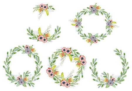 Watercolor floral set with wreaths hand drawn illustration. Tribal flowers, leaves and branch Stock Photo