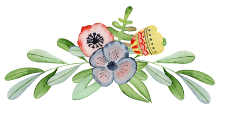 Watercolor floral bouquet hand drawn illustration. Elegant flowers, leaves and branch Stock Photo