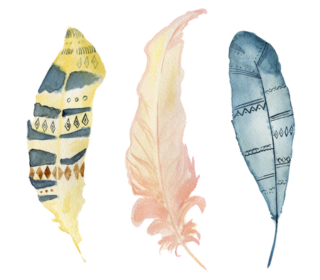 Watercolor feathers set boho hand drawn illustration Stock Photo