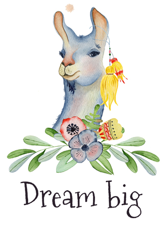 Cute Llama cartoon character watercolor illustration, Alpaca animal, hand drawn style. Dream big. Good for greeting cards, invitations, decoration, etc.
