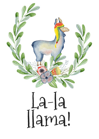 Cute Llama cartoon character watercolor illustration, Alpaca animal, hand drawn style. La la llama  Isolated white background. Good for greeting cards, invitations, decoration, etc.