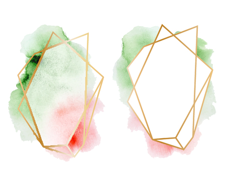 Polygonal frames set. Gold glitter triangles, geometric shapes. Diamond shape with watercolor washes. Minimal template for creative designs, card, invitation, Illustration