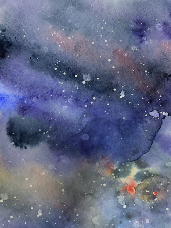 Watercolor night sky background, hand drawn watercolour indigo texture Illustration