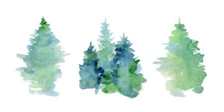 Aquarela woddland abstrata, silhueta de árvores de abeto com cinzas e salpicos, fundo de inverno mão ilustrações desenhadas