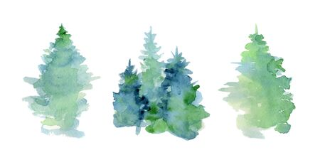 Watercolor abstract woddland, fir trees silhouette with ashes and splashes, winter background hand drawn illustration Ilustração