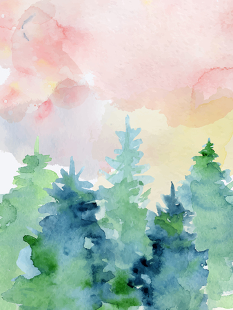 Watercolor abstract woddland, fir trees silhouette with ashes and splashes, winter background hand drawn illustration Ilustrace