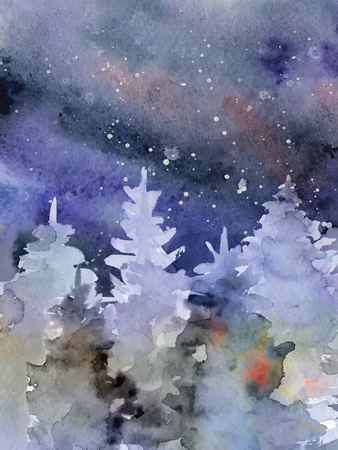 Watercolor abstract woddland, fir trees silhouette with ashes and splashes, winter background hand drawn illustration Illustration