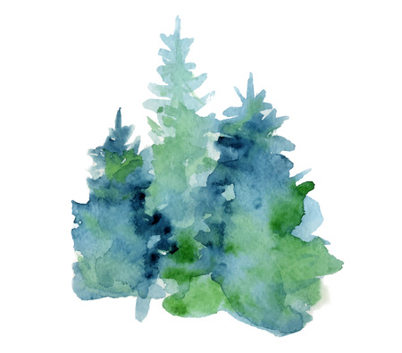 Hand drawn watercolor brush stroke illustration of  abstract fir trees silhouette with ashes and splashes.