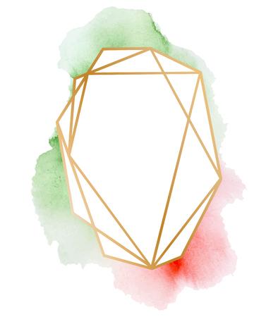 Conjunto de marcos poligonales. Triángulos de oro brillo, formas geométricas. Forma de diamante con lavados de acuarela. Plantilla mínima para diseños creativos, tarjeta, invitación, Foto de archivo - 92369177