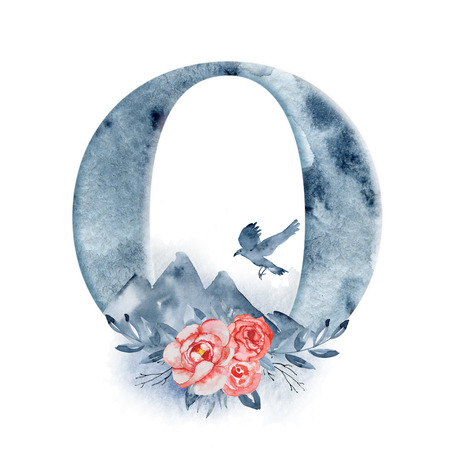 Floral watercolor alphabet. Monogram initial letter O design with hand drawn Raven, crow and mountain for wedding invitation, cards.