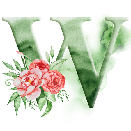 Floral watercolor alphabet. Monogram initial letter W design with hand drawn peony flower for wedding invitation, cards.