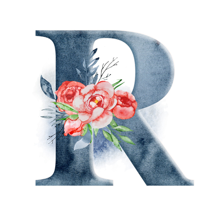Floral watercolor alphabet. Monogram initial letter R design with hand drawn peony flower for wedding invitation, cards. Foto de archivo