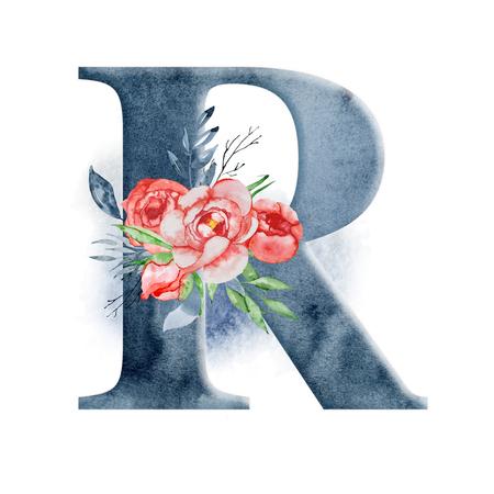 Alfabeto floreale dell'acquerello. Monogramma iniziale lettera R design con disegnato a mano fiore di peonia per invito a nozze, carte. Archivio Fotografico - 95113959
