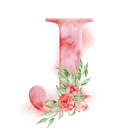 Floral watercolor alphabet. Monogram initial letter J design with hand drawn peony flower for wedding invitation, cards.