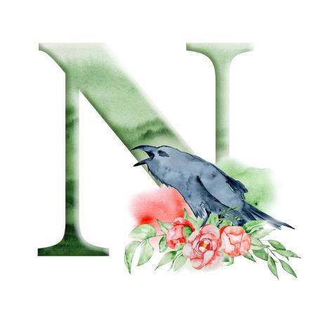 Blumenaquarellalphabet. Entwurf des Monogrammanfangsbuchstaben N mit Hand gezeichnetem Raben-, Krähen- und Blumenpfingstrosenblumenstrauß für Hochzeitseinladung, Karten.