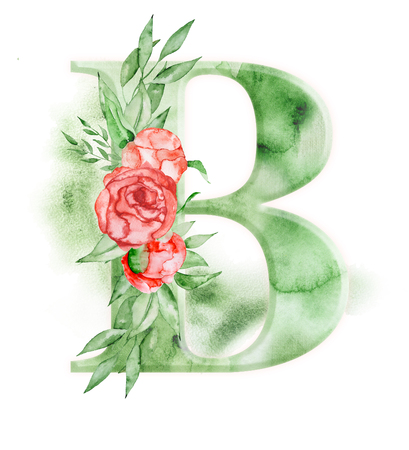 Floral watercolor alphabet. Monogram initial letter B design with hand drawn peony flower for wedding invitation, cards.