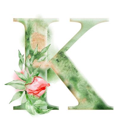 花の水彩画のアルファベット。結婚式の招待状、カードのための手描きの牡丹の花とモノグラムの最初の文字Kのデザイン。
