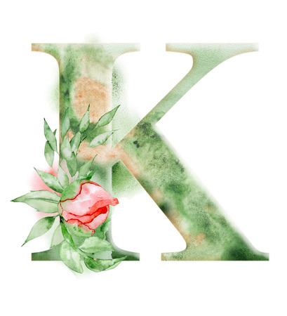 Floral watercolor alphabet. Monogram initial letter K design with hand drawn peony flower for wedding invitation, cards.