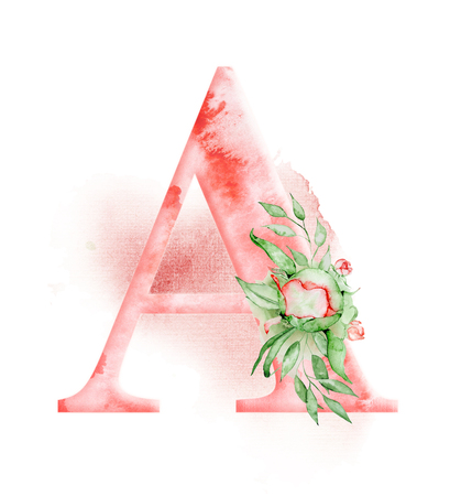 Floral watercolor alphabet. Monogram initial letter A design with hand drawn peony flower for wedding invitation, cards. Stock Photo