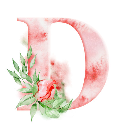 Floral watercolor alphabet. Monogram initial letter D design with hand drawn peony flower for wedding invitation, cards.
