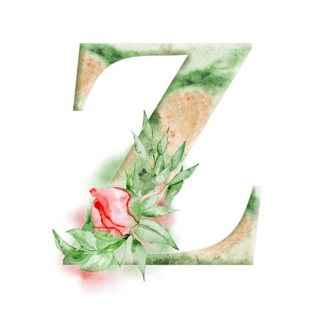 Floral watercolor alphabet. Monogram initial letter Z design with hand drawn peony flower for wedding invitation, cards. Stock Photo