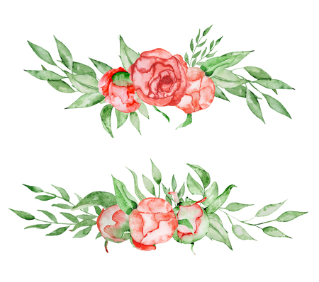 Peonies bouquets set Hand painted watercolor combination of Flowers and Leaves isolated on white background